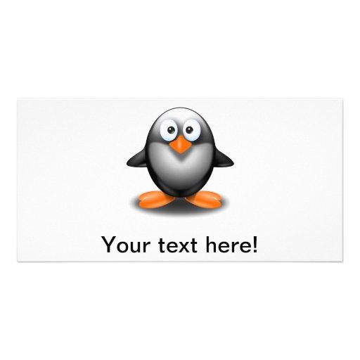 dibujo animado del pingüino tarjeta fotográfica personalizada