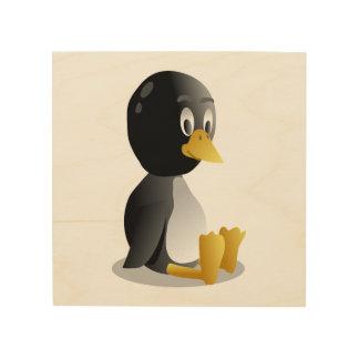 Dibujo animado del pingüino cuadro de madera