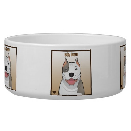 Dibujo animado del pitbull tazones para perro
