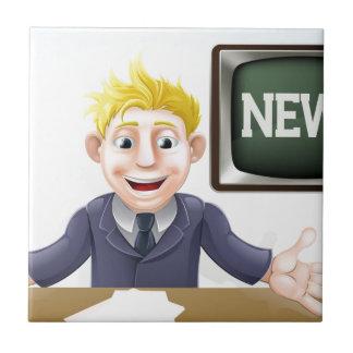 Dibujo animado del presentador de noticias de la T Tejas Ceramicas