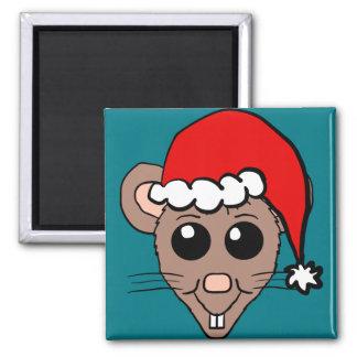 Dibujo animado del ratón del navidad imán cuadrado