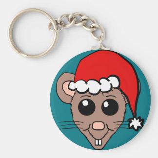 Dibujo animado del ratón del navidad llavero redondo tipo pin