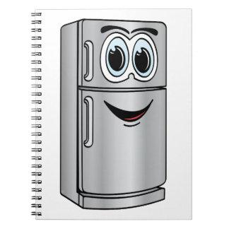 Dibujo animado del refrigerador del acero libro de apuntes con espiral