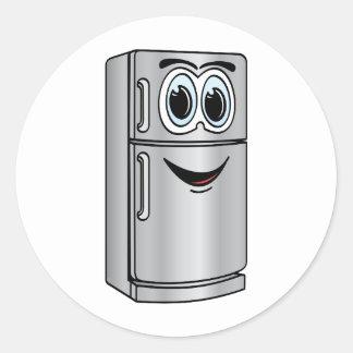 Dibujo animado del refrigerador del acero pegatina redonda