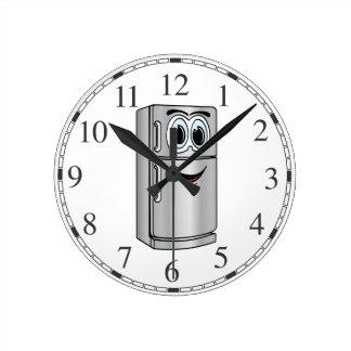 Dibujo animado del refrigerador del acero reloj redondo mediano