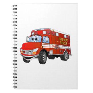 Dibujo animado del rescate del fuego libretas