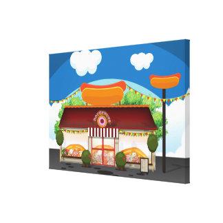Dibujo animado del restaurante de los alimentos de impresión en lienzo estirada