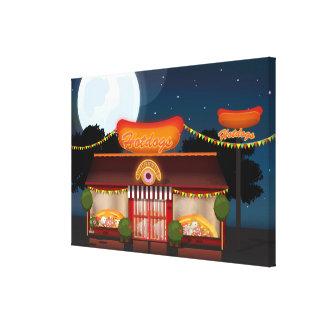 Dibujo animado del restaurante de los alimentos de impresión en lona estirada