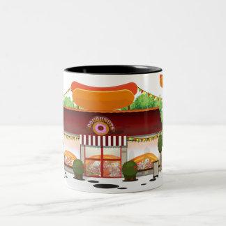 Dibujo animado del restaurante de los alimentos de taza dos tonos