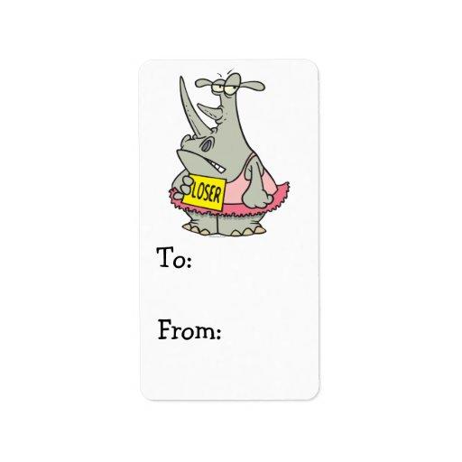 dibujo animado del rinoceronte de la bailarina del etiqueta de dirección