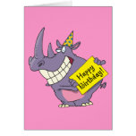 dibujo animado del rinoceronte del fiesta del feli tarjeta