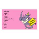 dibujo animado del rinoceronte del fiesta del feli tarjeta de visita
