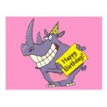 dibujo animado del rinoceronte del fiesta del feli tarjetas postales