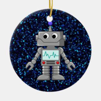 dibujo animado del robot adorno navideño redondo de cerámica