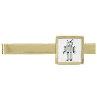 Dibujo animado del robot alfiler de corbata dorado