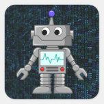 dibujo animado del robot calcomanías cuadradases