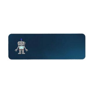 dibujo animado del robot etiqueta de remite