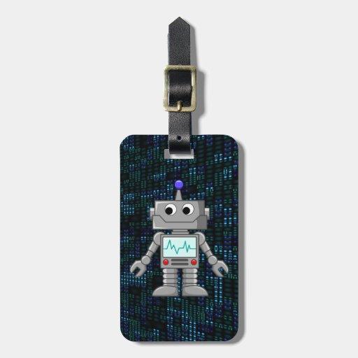 dibujo animado del robot etiquetas para equipaje