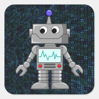 dibujo animado del robot pegatina cuadrada