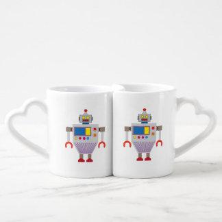 Dibujo animado del robot set de tazas de café
