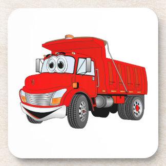 Dibujo animado del rojo del árbol del camión volqu posavasos de bebidas