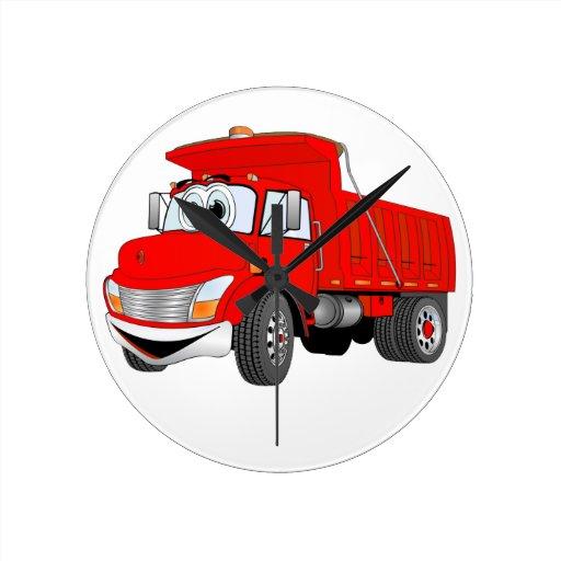 Dibujo animado del rojo del árbol del camión volqu relojes de pared