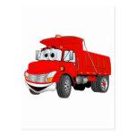 Dibujo animado del rojo del árbol del camión volqu tarjeta postal