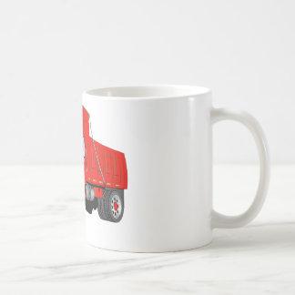 Dibujo animado del rojo del árbol del camión volqu tazas de café
