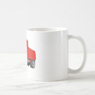Dibujo animado del rojo del árbol del camión volqu taza de café
