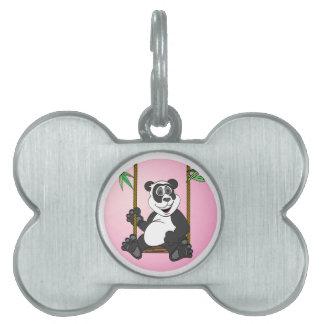 Dibujo animado del rosa del oso de panda placa de nombre de mascota