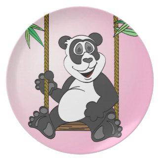 Dibujo animado del rosa del oso de panda platos para fiestas