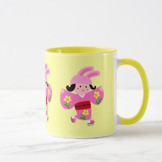 Dibujo animado del rosa del usagi del chica del taza