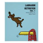 Dibujo animado del salto de Labrador del chocolate Poster