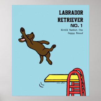 Dibujo animado del salto de Labrador del chocolate Póster
