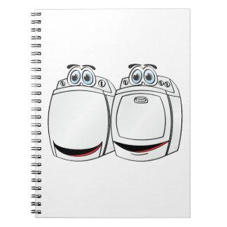 Dibujo animado del secador de la lavadora spiral notebook