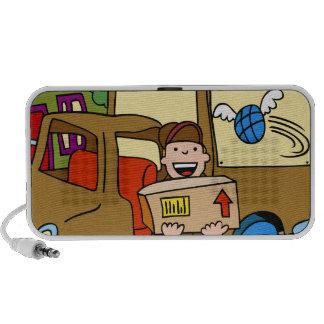Dibujo animado del servicio de envío iPod altavoces