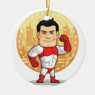 Dibujo animado del super héroe adorno navideño redondo de cerámica