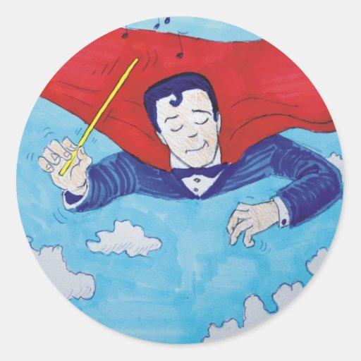 Dibujo animado del superconductor pegatina redonda