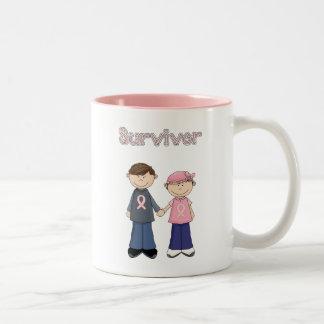 Dibujo animado del superviviente taza de café