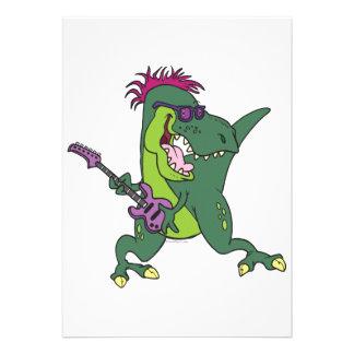 dibujo animado del t-rex del rock-and-roll invitaciones personales