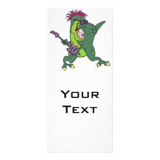 dibujo animado del t-rex del rock-and-roll tarjeta publicitaria