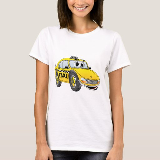 Dibujo animado del taxi de la puerta del amarillo playera