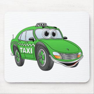 Dibujo animado del taxi de la puerta del verde 4 alfombrillas de ratones