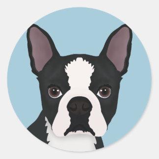 dibujo animado del terrier de Boston Pegatina Redonda