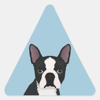 dibujo animado del terrier de Boston Pegatina Triangular