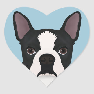 dibujo animado del terrier de Boston Pegatina En Forma De Corazón