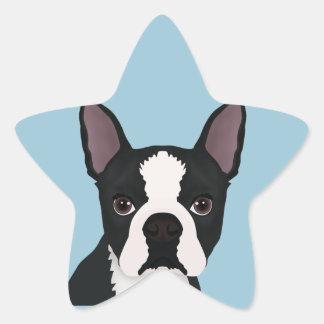 dibujo animado del terrier de Boston Pegatina En Forma De Estrella