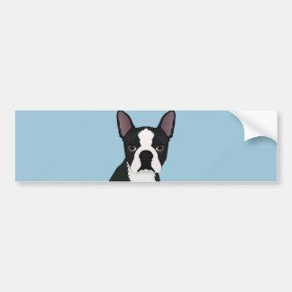 dibujo animado del terrier de Boston Pegatina Para Auto