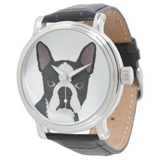 dibujo animado del terrier de Boston Relojes De Pulsera