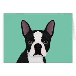dibujo animado del terrier de Boston Tarjeta Pequeña